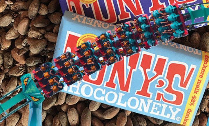 WAT? Er komt een Tony's Chocolonely pretpark, inclusief achtbaan!